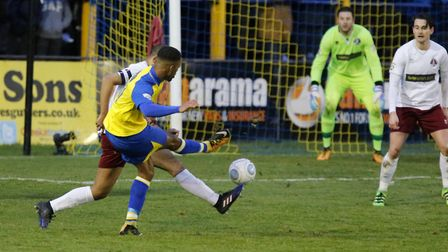 Kieran Monlouis fires the ball towards the Chelmsford goal. Picture: LEIGH PAGE