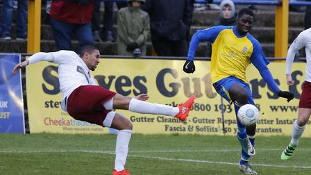 Percy Kiangebeni clears a Chelmsford attack. Picture: LEIGH PAGE