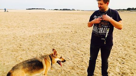 Nick with Amber, who has given him back his independence. Picture: NIck Burr