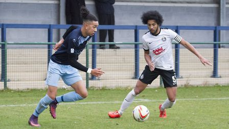 Lewis Irwin scored one goal and made another as St Neots Town beat Kings Langley. Picture: CLAIRE HO