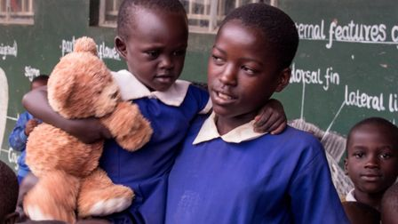 The new teddy bear Hilary donated to the schoolchildren at Musoto Christian School.