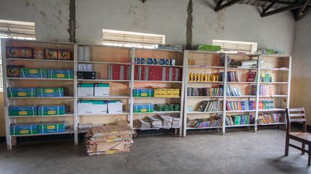 The new library at Musoto Christian School, filled with books.