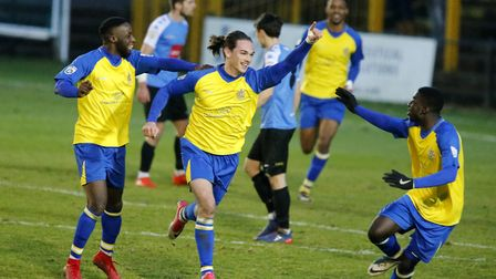Tom Bender celebrates the opening goal of the game. Picture: LEIGH PAGE