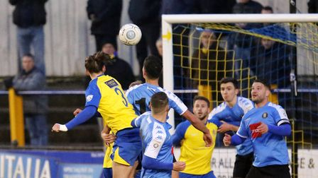 Tom Bender heads the Saints into a 66th minute lead. Picture: LEIGH PAGE