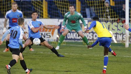 Rhys Murrell-Williamson looks on as his shot is blocked. Picture: LEIGH PAGE