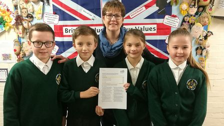 Head teacher Angela Boxall with school councillors from Warboys Primary School. Picture: ELEANOR CHI