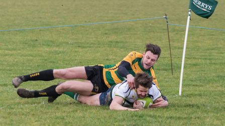 Barnie West touches down for a try as Huntingdon beat Bugbrooke. Picture: J BIGGS PHOTOGRAPHY