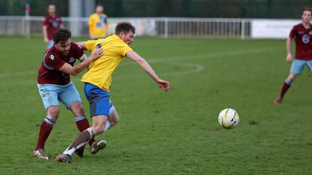 Harpenden's Chris Brothwood went close against Cockfosters. Picture: KEVIN LINES