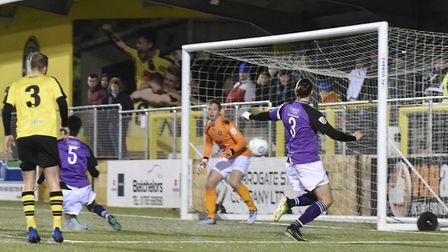 St Albans City go close in the first half against Harrogate Town. Picture: BOB WALKLEY