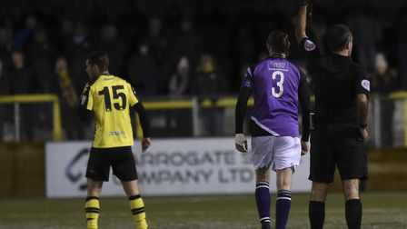 Tom Bender picks up a yellow card. Picture: BOB WALKLEY
