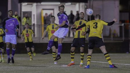 Sam Merson looks to connect with a header. Picture: BOB WALKLEY