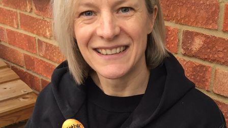 CADS' Emma Shaw with the 'golden egg' rocks, designed in the spirit of their latest production Mothe