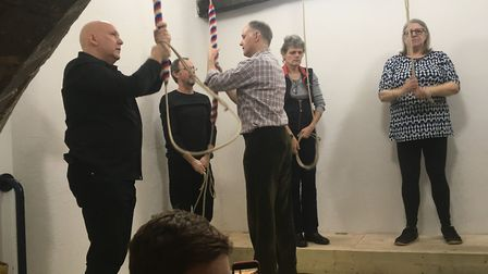 RINGING: Bellringers in action at New Year