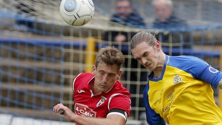 Tom Bender headed the opening goal for St Albans City. Picture: LEIGH PAGE