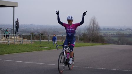 Verulam Really Moving's Izzy Zimmerman celebrates her victory at Hog Hill. Picture: CEDRIC RUBENSTEI