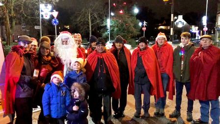 Lions and helpers at the Round Table Santa float.