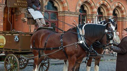 A brewer's dray delivering Lost Rivers beer to St Pancras.