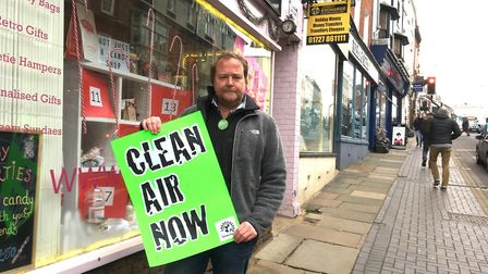Air quality expert and Green campaigner, Keith Cotton, standing outside Pop Rock Candy on Holywell H