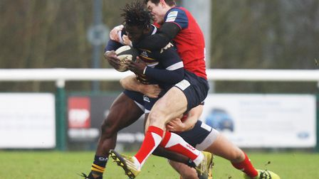 Old Albanians v Hull Ionians - Rotimi Segun in action for the Old Albanians.Picture: Karyn Haddon