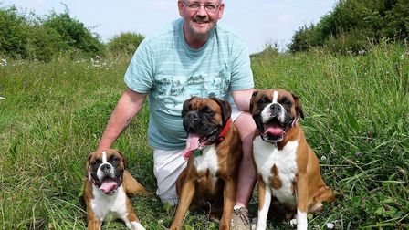 Mitchell Bailey, pictured with his dogs, died in the Royston crash. He was 58. Picture: Courtesy of