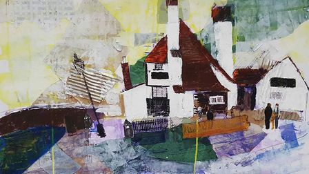 Local colour: this mixed media collage of St Albans' historic pub, Ye Olde Fighting Cocks was create