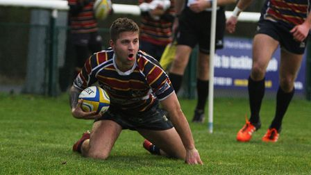 Jack Daly's late try helped Old Albanian to a draw with Ampthill. Picture: KARYN HADDON