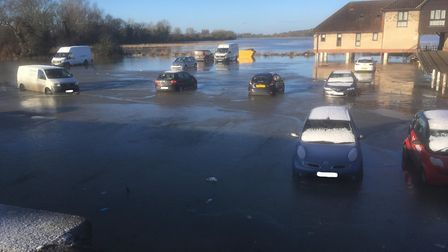 Flood waters at the Dolphin Hotel in St Ives froze overnight. Picture: ALAN DAVIS