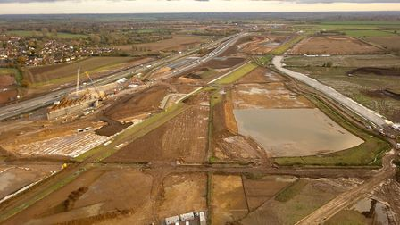 Aerial shots of the work being carried out on at the A14 at Brampton. Picture: GEOFF SODEN.