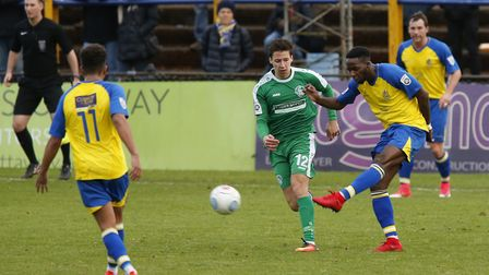 Rhys Murrell-Williamson fires the ball towards goal. Picture: LEIGH PAGE