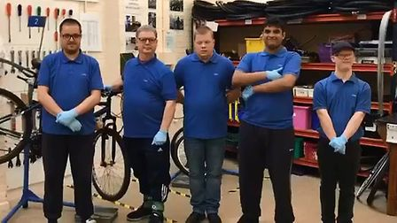 RECYCLE: Members of Huntingdon TAG bike recycling prroject