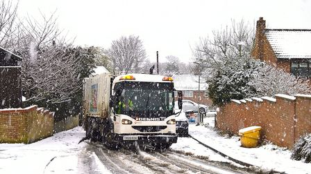 Bin lorry making a valiant attempt to get up Royston's Echo Hill Royston - it was too slippery, so t