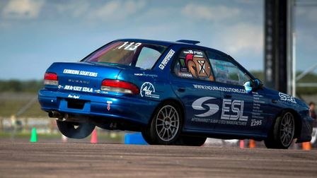Andy Stevens in action in his Subaru Impreza. Picture: SHOOTING DAVE