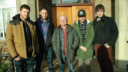 The Zombies' Jim Rodford, centre, with Enter Shikari members, from left, Rory Clewlow, Rob Rolfe, Ro