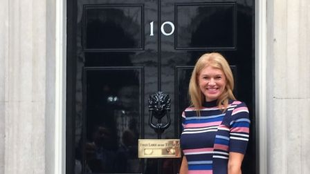Caroline Syson outside 10 Downing Street