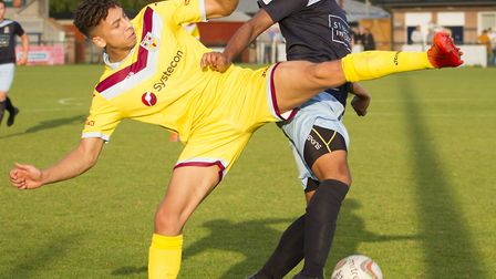 Dion Sembie-Ferris hit a late consolation as St Neots Town crashed to a heavy defeat. Picture: CLAIR