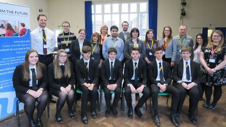 Year 11 students with their interviewers. Picture: BVC