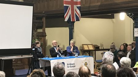 Left to right: Fiona McAndrew (chair of St Albans for Europe), Lord Kerr, organiser Judy Newton-Davi