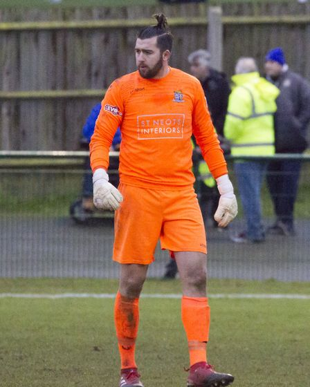 New St Neots Town number one Jake Jessup during his debut at Dunstable. Picture: CLAIRE HOWES