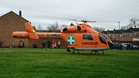 The Magpas air ambulance landed in Huntingdon after a car collided with a wall