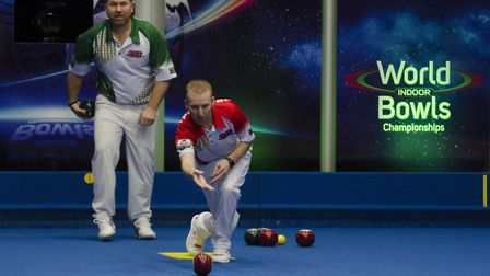 Nicky Brett during his World Indoor Singles defeat to Mervyn King. Picture: WORLDBOWLSTOUR.TV