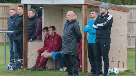 Eaton Socon manager Mark Spavins (front) is chasing a third Hunts Intermediate Cup success in five y