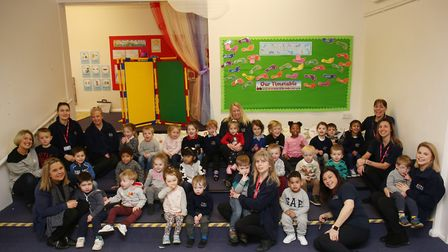 Children and staff of the new Paperchain nursery at London Colney Nursery and Primary School. Pictur