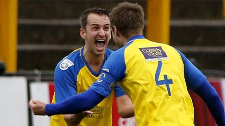 Sam Merson enjoys his man of the match performance by celebrating the opening goal. Picture: LEIGH P