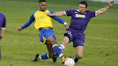 Kieran Monlouis in action against East Thurrock United. Picture: LEIGH PAGE