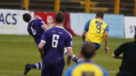 Sam Merson strikes the first goal of the game. Picture: LEIGH PAGE