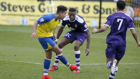 Zane Banton lays the ball off to set up Sam Merson for the opening goal. Picture: LEIGH PAGE