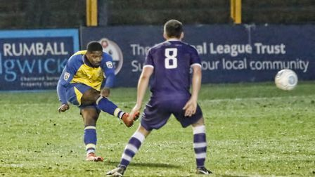 Shaun Lucien sends in a screamer. Picture: LEIGH PAGE