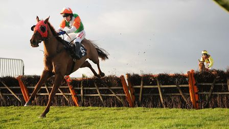 Taj Badalandabad and Tom Scudamore on their way to victory at Huntingdon Racecourse. Picture: STEVE