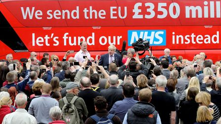 Boris Johnson. Gisela Stuart and Douglas Carswell address the people of Stafford in Market Square during the Vote Leave...