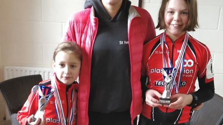 Successful St Ives Cycling Club riders, from the left, Ruby O'Dell, Cecilia Hime and Orla Kenna.